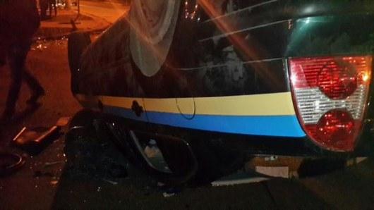 Машина милиции пострадала во время вечернего противостояния